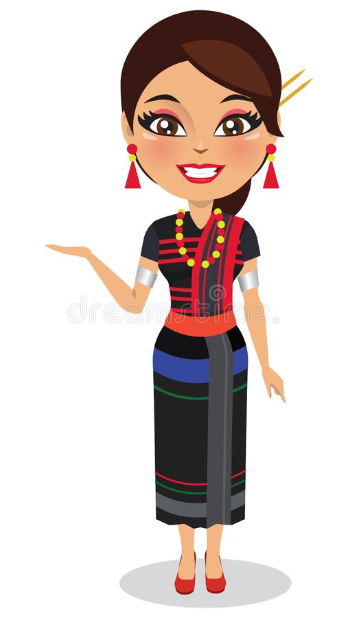 Indian woman from Nagaland in traditional outfit. A happy and cute Indian woman wearing a traditional outfit from the state of Nagaland - Vectorn stock illustration