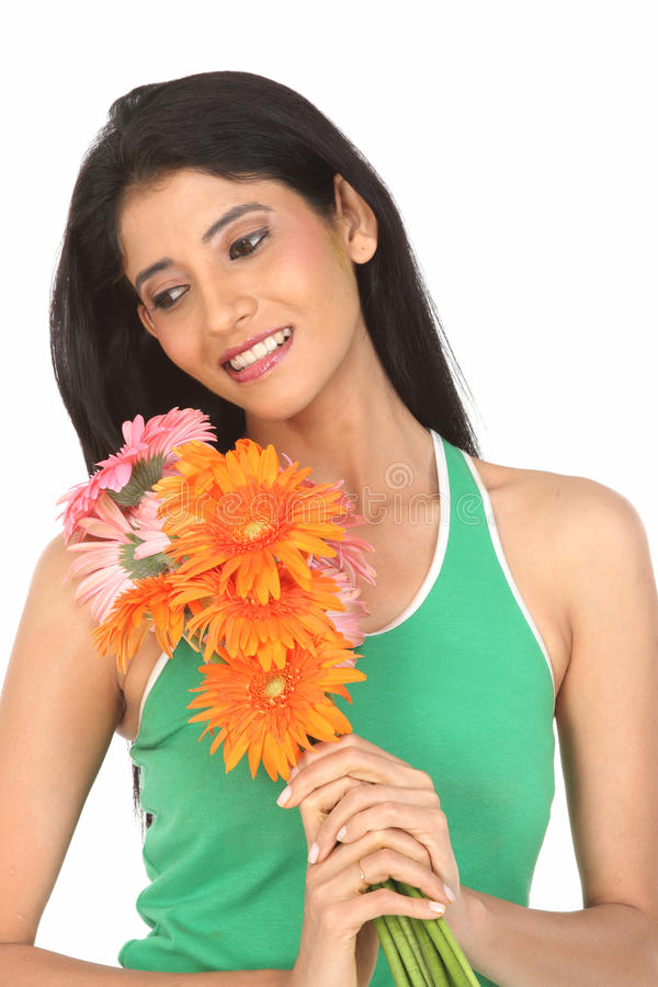 Download Indian  Woman With  Daisy Flowers Stock Image - Image: 12347495