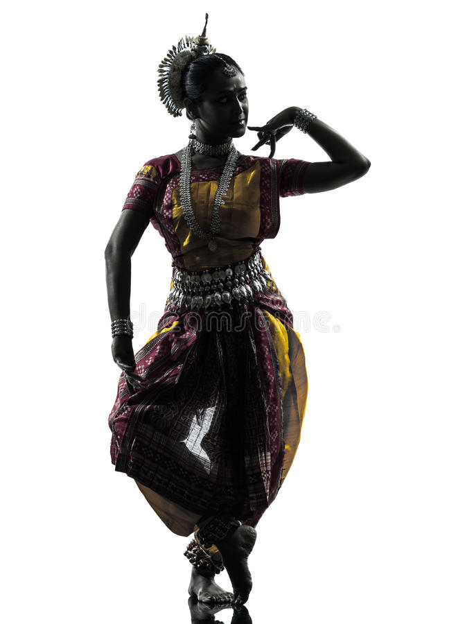 Indian woman dancer dancing silhouette. Dress royalty free stock photography