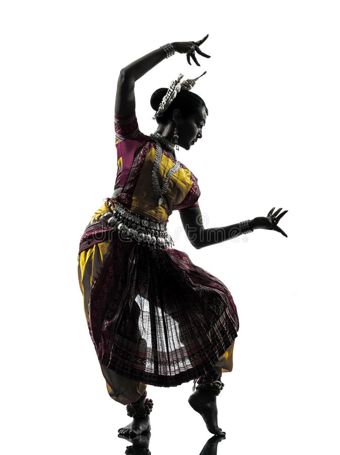 Indian woman dancer dancing silhouette. One indian woman dancer dancing in silhouette studio isolated on white background royalty free stock image