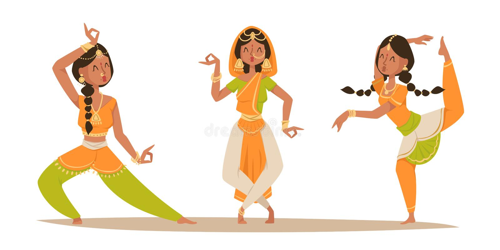 Indian woman dancing vector isolated dancers silhouette icons people India dance show movie, cinema cartoon beauty girl vector illustration