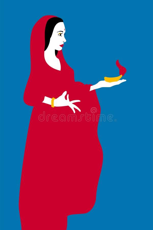 Indian woman dressed in a red sari stock illustration