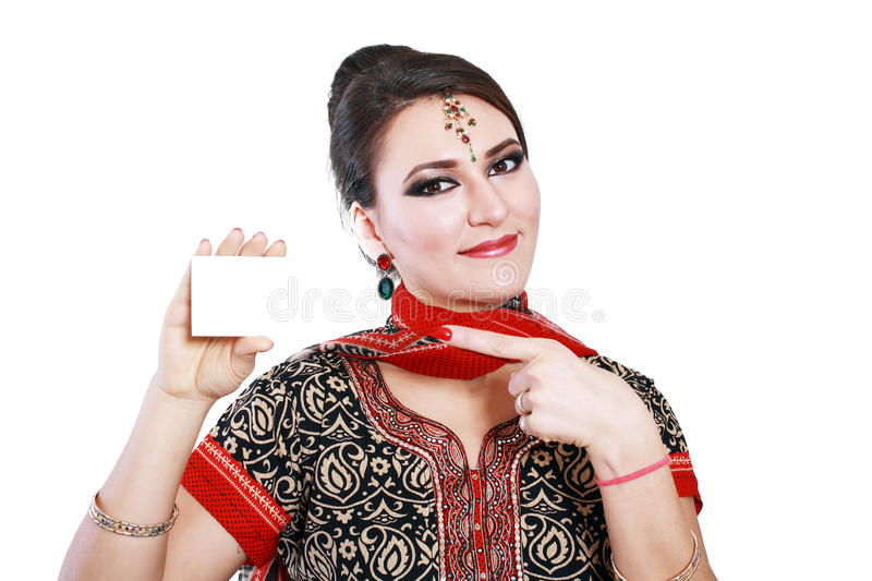 Indian woman hold card stock photo image of beauty indian 36814964 happy indian woman hold blank business card or credit card reheart Images