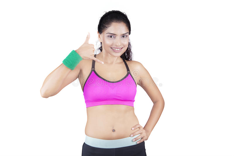 Indian Woman Making Call Gesture stock photos