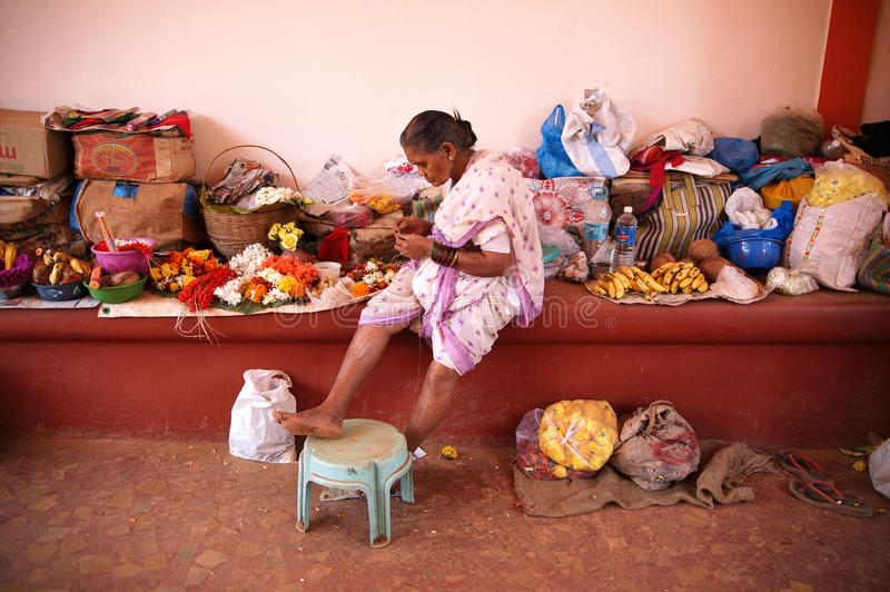 Indian woman on market stock images