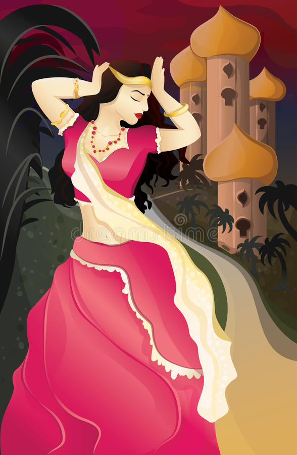 Indian woman at nigh royalty free stock photos