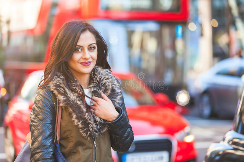 Indian woman portrait in London stock image