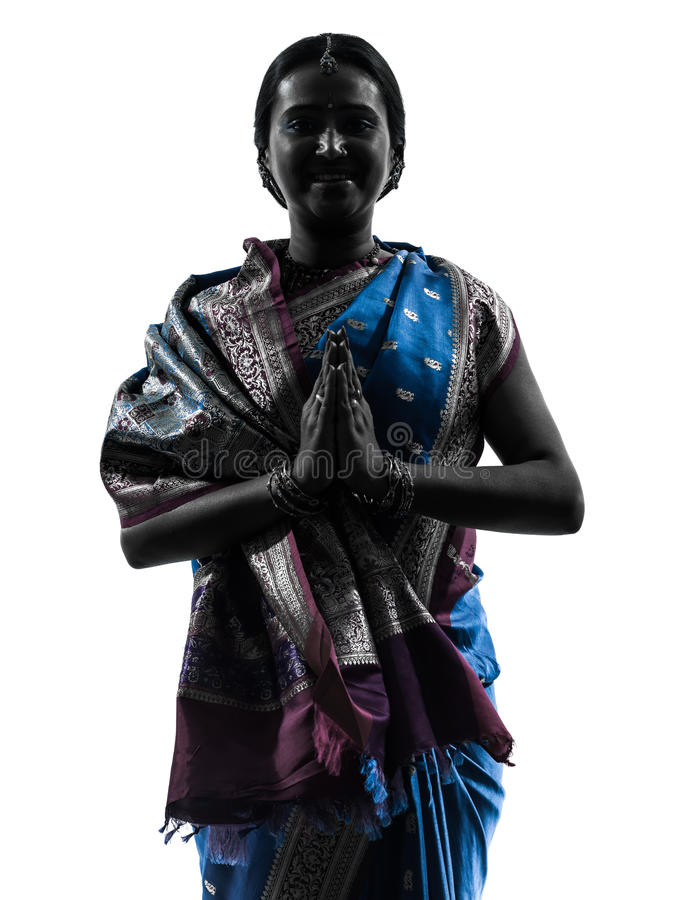 Download Indian Woman Saluting Praying Silhouette Stock Image - Image: 28754587