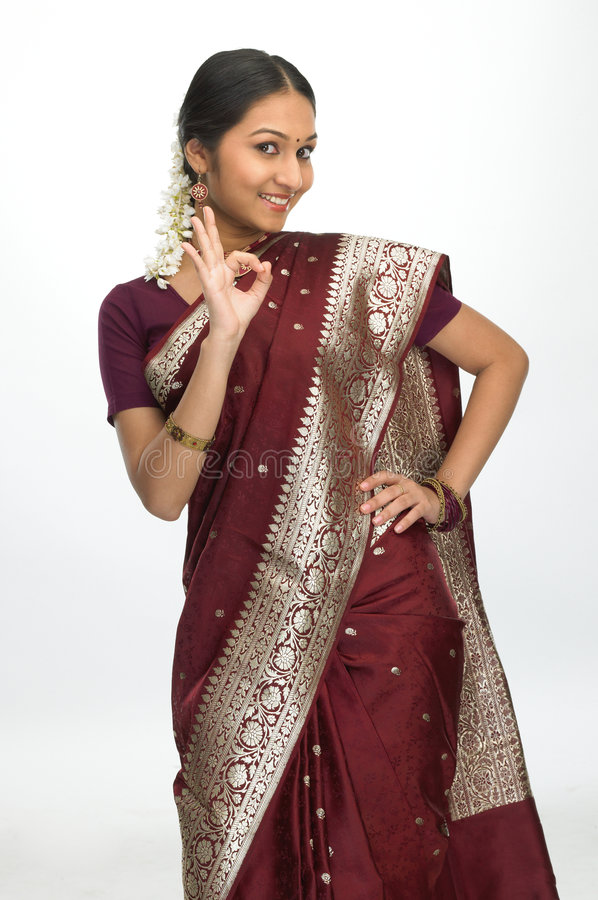 Indian woman saying excellent stock photos