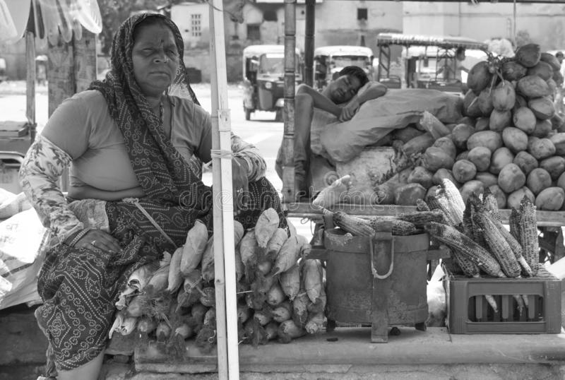 Indian woman selling corn in pink city jaipur market, india royalty free stock image