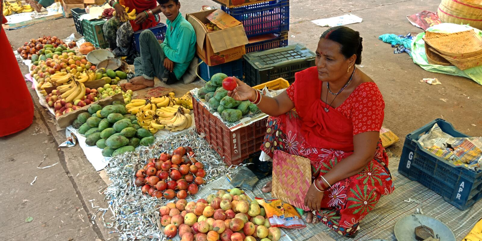 An Indian woman selling fruits at street royalty free stock images