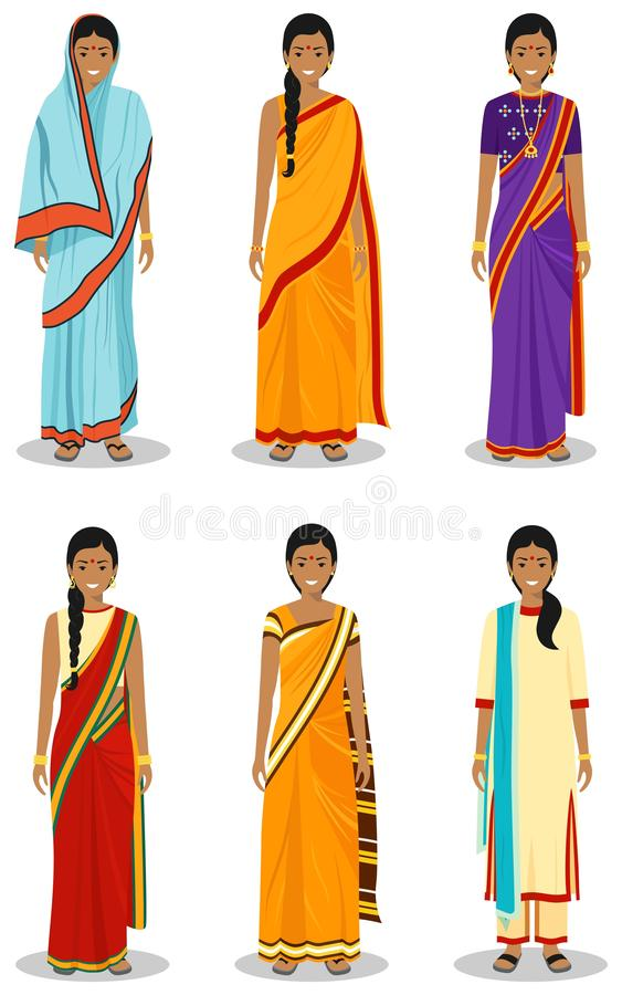 Indian woman. Set of different standing young adult women in the traditional national clothing isolated on white vector illustration