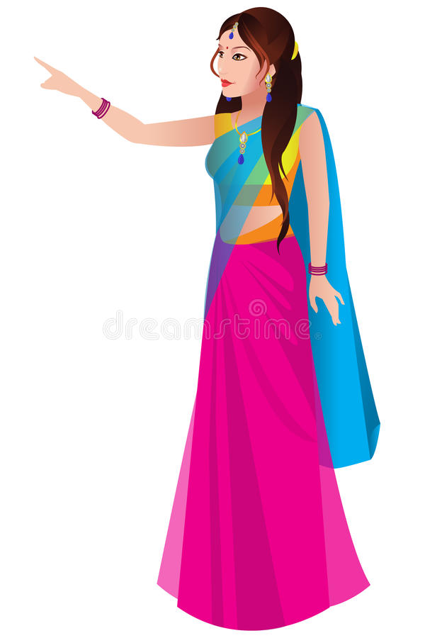 Indian woman in a traditional saree vector illustration