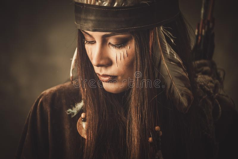 Cherokee For Less >> Indian woman warrior stock image. Image of cherokee, garment - 53145087