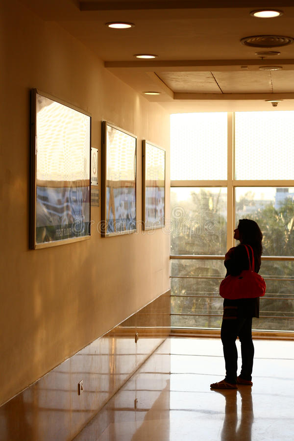 Indian Woman watching Display Posters royalty free stock photography