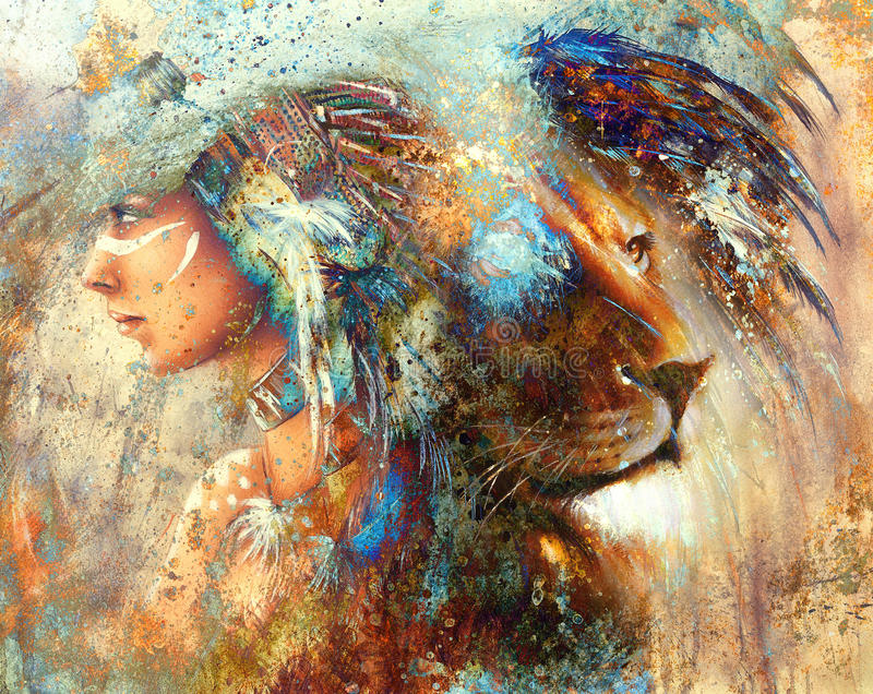 Indian woman wearing feather headdress with lion and abstract color collage vector illustration