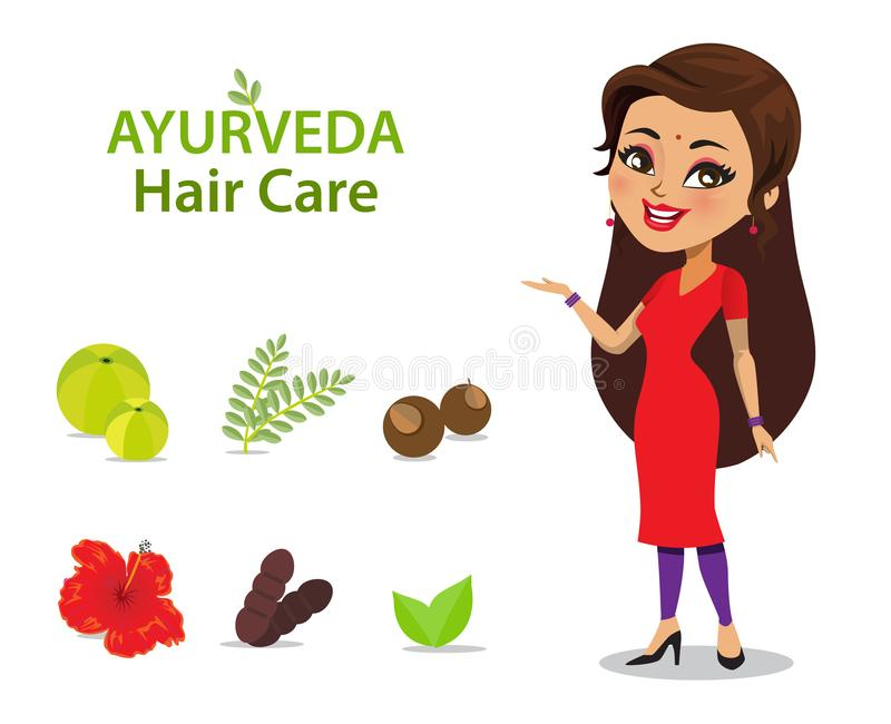 An Indian woman wearing a salwar kameez has long and strong thick hair because of ayurvedic care using natural ingredients/ herbs vector illustration