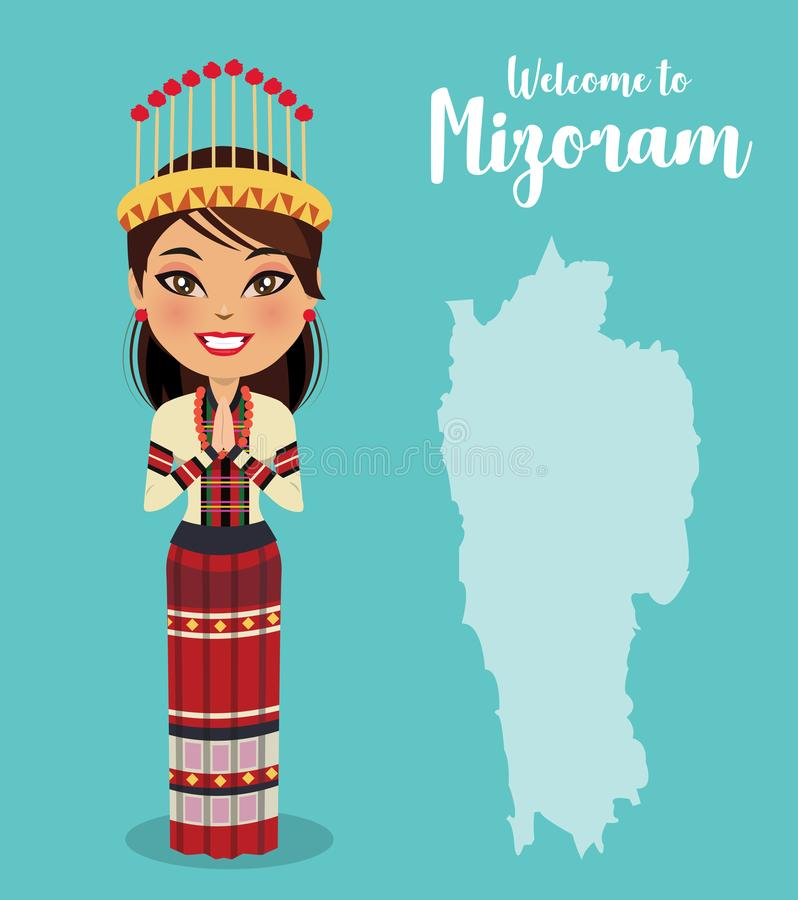 Indian woman wearing a traditional dress from the north east state of Mizoram in namaste pose in front of a map of Mizoram - Vecto vector illustration