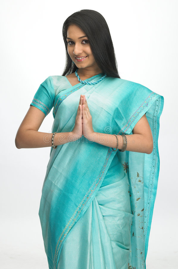 Download Indian Woman In Welcome Expression Stock Photo - Image of dress, expressions: 7906768