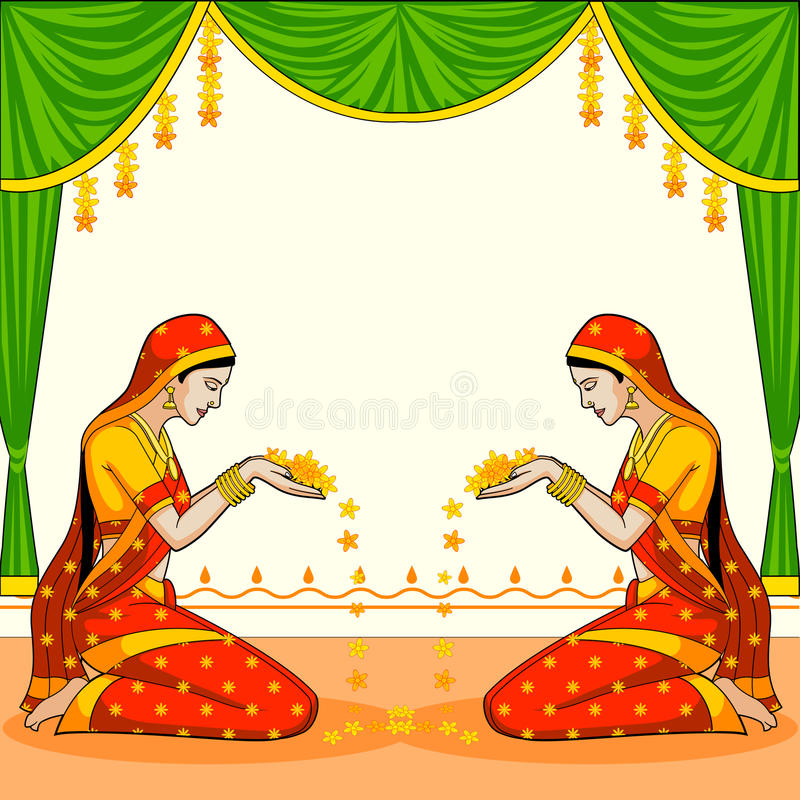 Indian Woman Welcoming With Flower Stock Vector ...