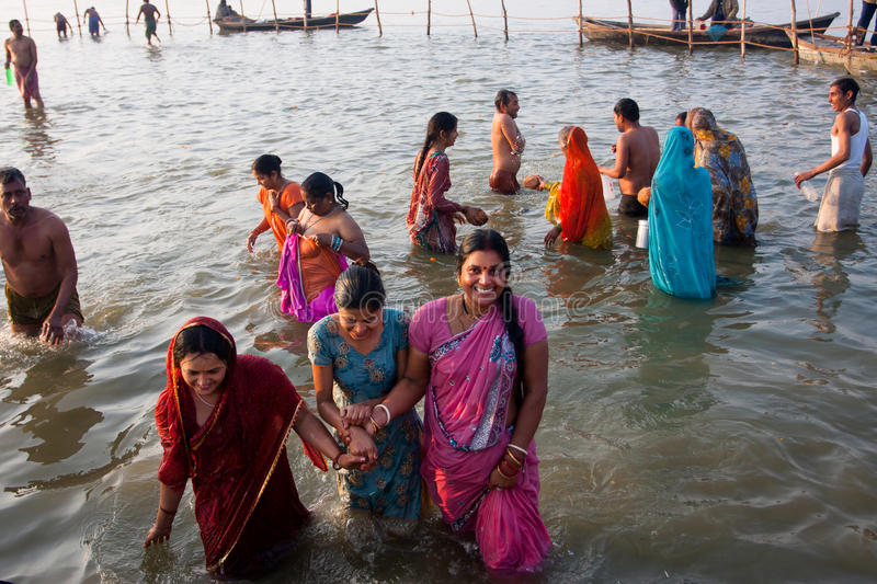 Indian women come from the river stock image