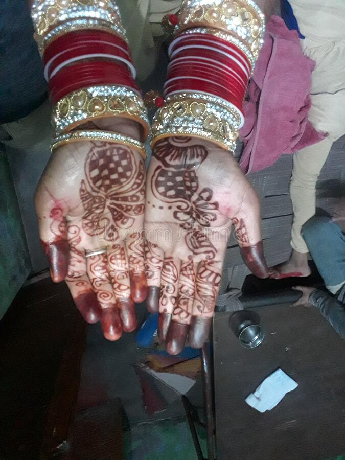Indian women. Mehndi stock photo