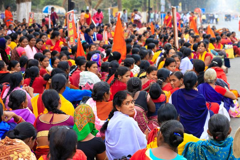 Indian women street demonstration. BHUBANESWAR, INDIA, JANUARY 11, 2019 : Women government officers are protesting in the street against the income lowering of stock image