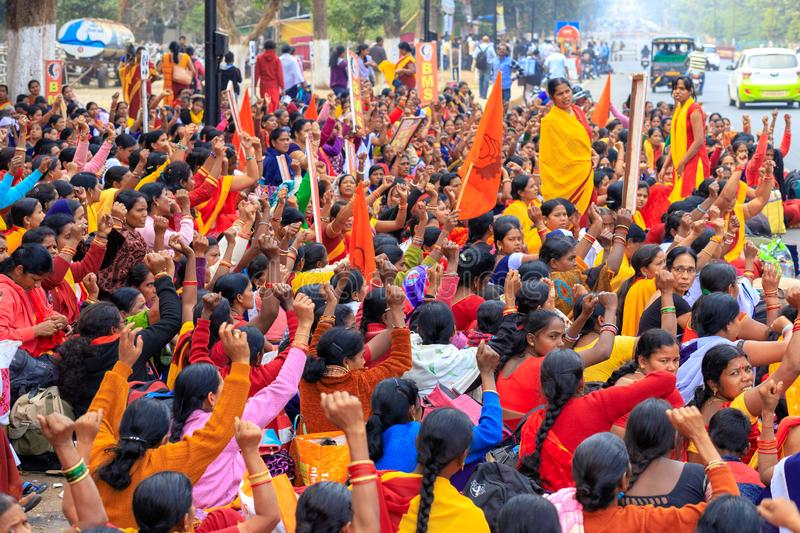 Indian women street demonstration. BHUBANESWAR, INDIA, JANUARY 11, 2019 : Women government officers are protesting in the street against the income lowering of stock photo