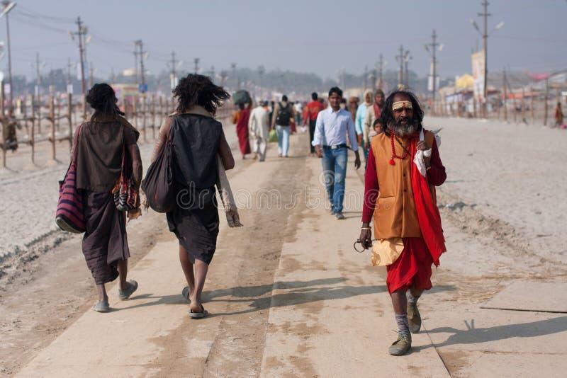 Indian worshipers rushing royalty free stock photos