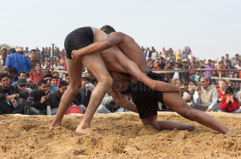 Indian wrestlers doing their practice during Camel festival in Rajasthan, India stock photo