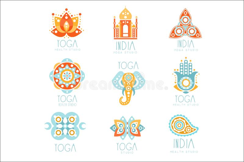 Indian Yoga Studio Set Of Colorful Promo Sign Design Templates With Mandalas And Stylized Famous Spiritual Indian. Symbols. Bright Color Promotional Vector royalty free illustration