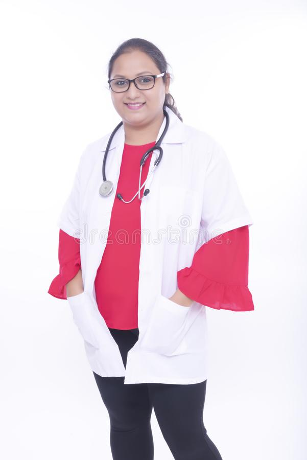 Indian young enthusiastic lady doctor royalty free stock images