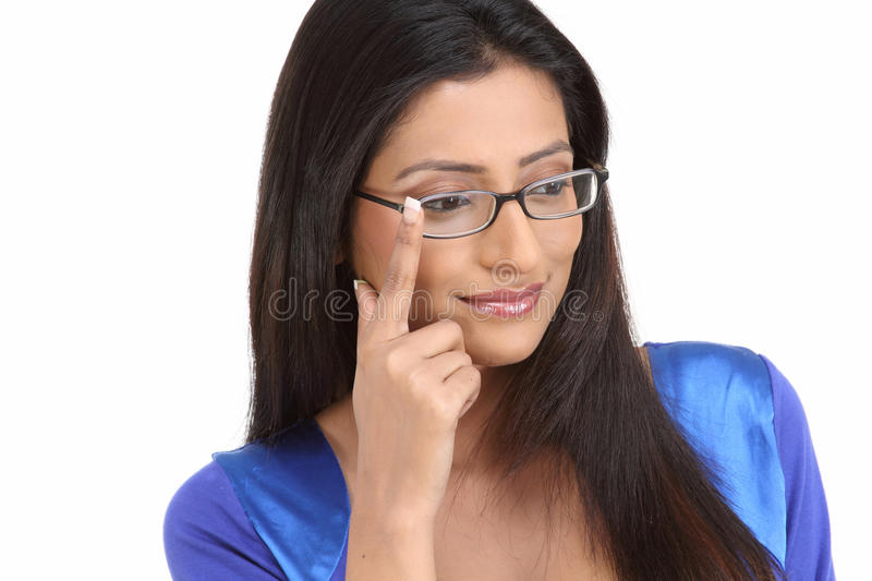 Indian young girl with eyeglasses stock photography