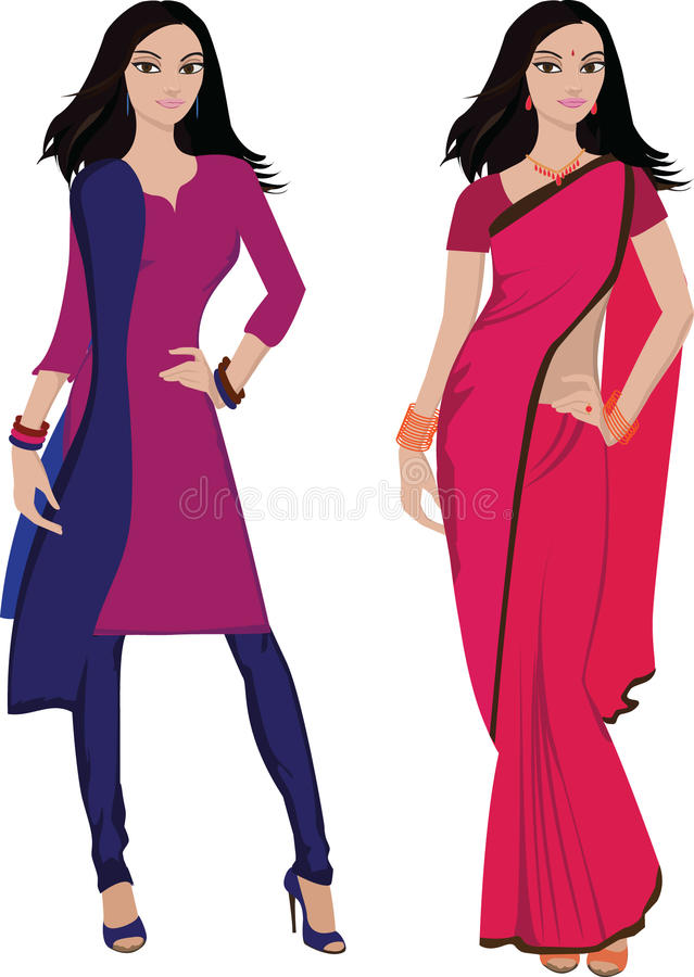 Indian young woman (). Beautiful indian young woman in colorful sari and salwar kameez -- Highly detailed and no gradients/ mesh vector illustration