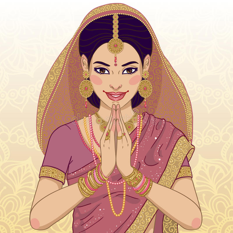 Indian young woman. Beautiful indian young woman in colorful sari vector illustration