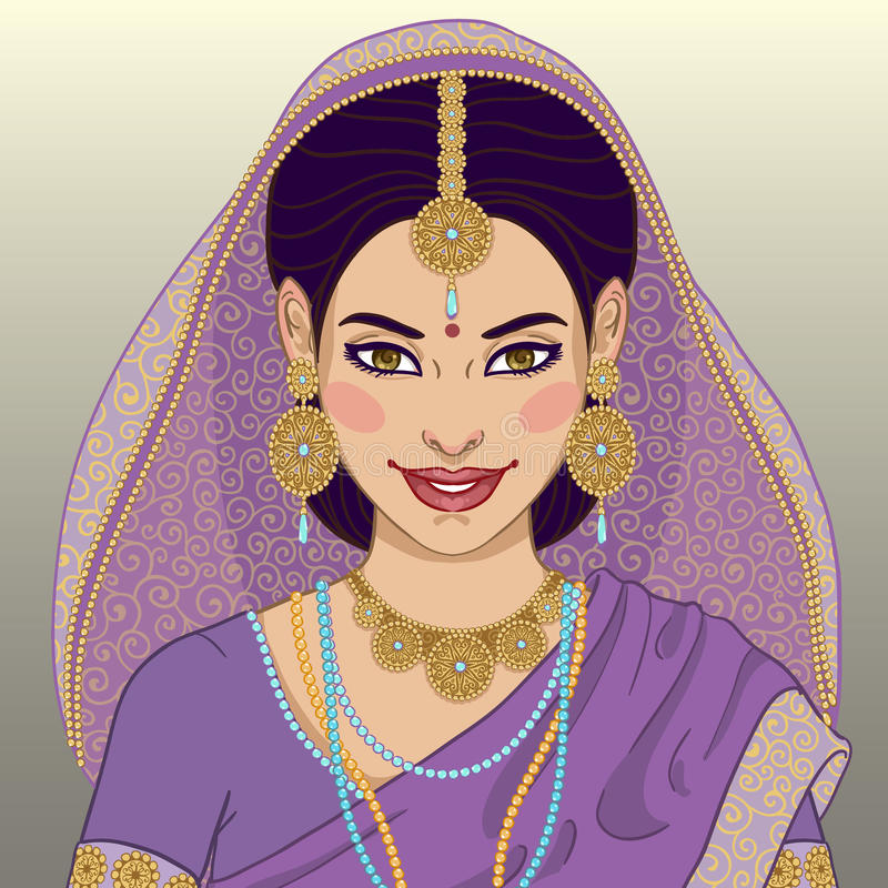 Indian young woman. Beautiful indian young woman in colorful sari stock illustration