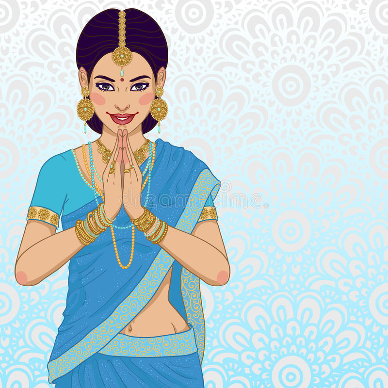 Indian young woman. Beautiful indian young woman in colorful sari royalty free illustration