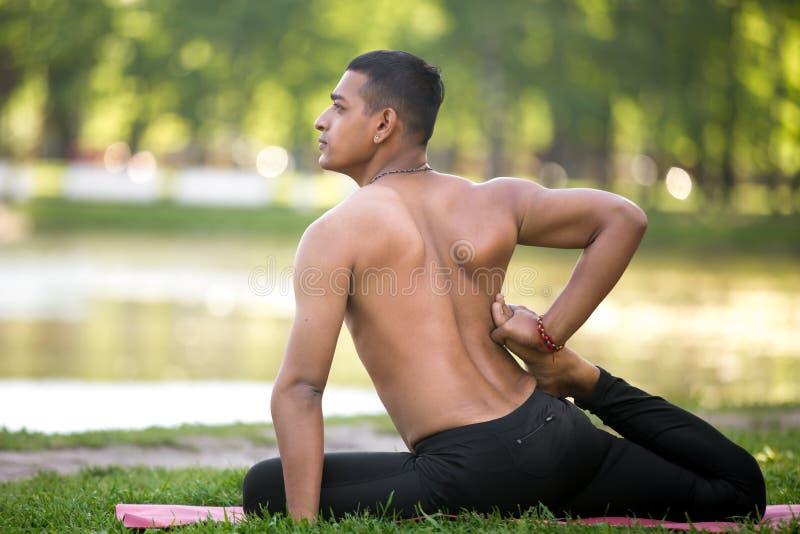 Indian young yogi practice stock image