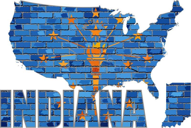 Indiana auf einer Backsteinmauer lizenzfreie abbildung
