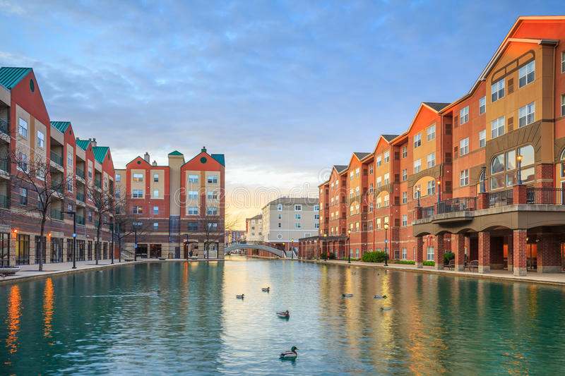 Indiana Central Canal. Downtown of Indianapolis by Indiana Central Canal stock images