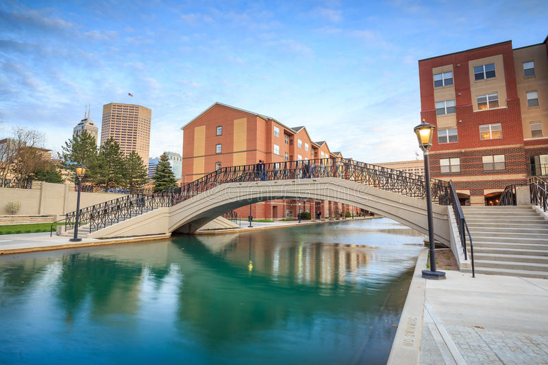 Indiana Central Canal. Downtown of Indianapolis by Indiana Central Canal stock photo