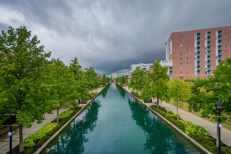The Indiana Central Canal in Indianapolis, Indiana.  royalty free stock image
