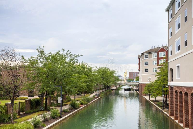 Indiana Central Canal, Indianapolis, Indiana, USA lizenzfreies stockfoto