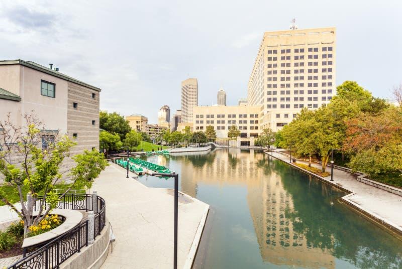Indiana Central Canal, Indianapolis, Indiana, USA lizenzfreie stockbilder