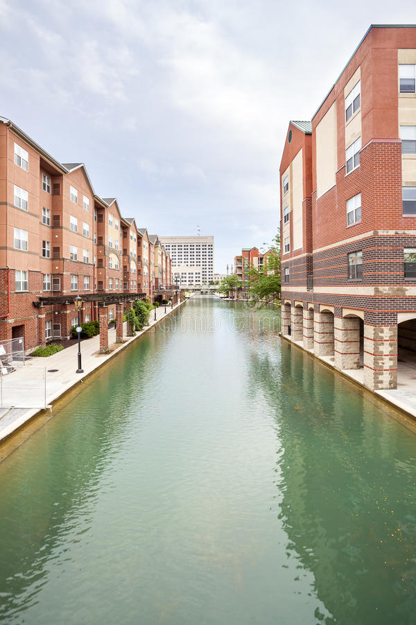 Indiana Central Canal, Indianapolis, Indiana, USA. Downtown of Indianapolis by Indiana Central Canal, Indiana, USA royalty free stock image