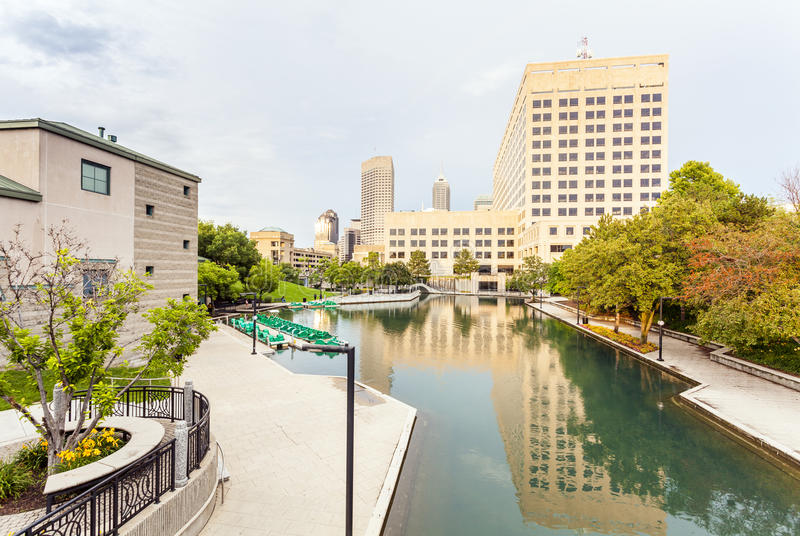 Indiana Central Canal, Indianapolis, Indiana, USA. Downtown of Indianapolis by Indiana Central Canal, Indiana, USA royalty free stock images