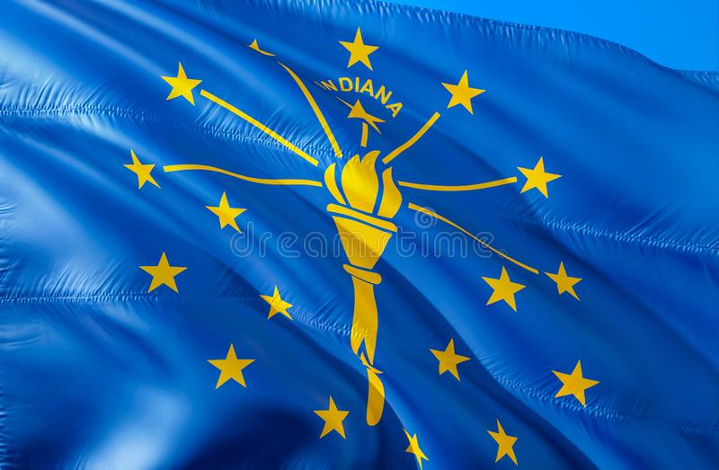 Indiana flag. 3D Waving USA state flag design. The national US symbol of Indiana state, 3D rendering. National colors and National royalty free stock photography