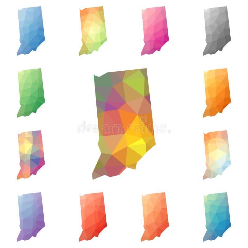 Indiana geometryczny poligonalny, mozaika styl my ilustracja wektor