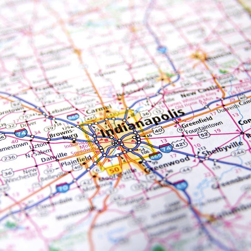Indiana Highway Map Close acima fotos de stock royalty free