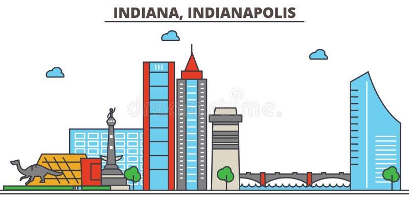 Indiana, Indianapolis De Horizon van de stad royalty-vrije illustratie